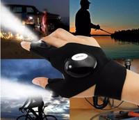 handschuh finger lichter großhandel-Neue 2 LED-Licht Taschenlampe Radfahren Handschuhe Fackel Magic Strap LED Handschuh für die Reparatur und Arbeit im Freien Sporting / Camping / Wandern Finger Licht