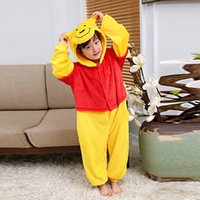Wholesale Costumes Winnie Pooh - Mejorhome Kids Unisex Animal Pajamas Flannel Winnie Pooh Comfortable Sleepwear Nightwear Boys Girls Christmas Gifts Pyjamas Lovely bedgown