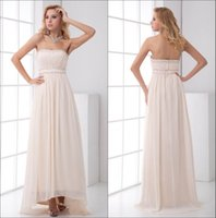 Wholesale strapless chiffon bridesmaid dress bead for sale - Chiffon High Low Prom Dresses Real Image Champagne Strapless Ruched Empire Floor Length Formal Party Evening Dresses ZPT196