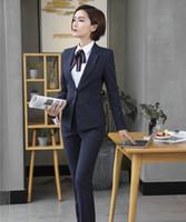 modelos de roupas femininas venda por atacado-Ternos de calça formal para mulheres ternos de negócio blazer das senhoras e jaquetas definir desgaste de trabalho uniforme de escritório projeta estilos