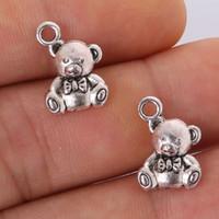 антикварный медведь подвеска оптовых-Fashion 7pcs 15x10mm Antique silver plating Bear Charms Pendant jewelry findings for DIY