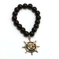 ingrosso braccialetti di onice neri per le donne-Anime ONE PIECE Bracciali Rufy Rudder Charm Handmade Natural Black Onyx Bracciale Uomo Donna Bracciale Accessori gioielli