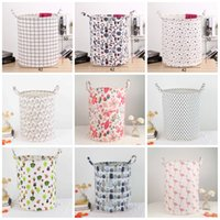 Wholesale cotton storage basket - Dirty Clothes Storage Baskets Wear Resistant Folding INS Bags Round Cotton Linen Breathable Washing Hamper Comfortable 12 5kk BB