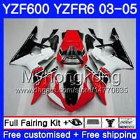 kit yamaha preto venda por atacado-Corpo para YAMAHA YZF-600 YZF-R6 03 YZF R6 Vermelho preto Fábrica 2003 2004 2005 Carroçaria 228HM.27 YZF 600 R 6 YZF600 YZFR6 03 04 05 Kit de Carcaças
