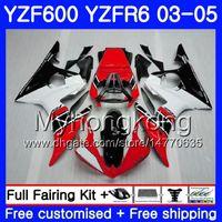 kit de carenado yamaha r6 negro al por mayor-Cuerpo para YAMAHA YZF-600 YZF-R6 03 YZF R6 Rojo negro Factory 2003 2004 2005 Carrocería 228HM.27 YZF 600 R 6 YZF600 YZFR6 03 04 05 Kit de carenados