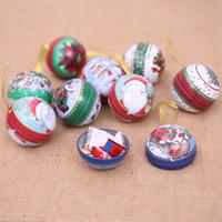 latas redondas de navidad al por mayor-Suministros navideños para la navidad Caja de almacenamiento de lata de hierro redondo Estilo de caja de regalo elegante y dulce al azar Estilo aleatorio