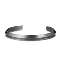 Wholesale stainless cuffs female - Vintage Bangle Men Retro Ancient Silver Color Cuff Bracelet Stainless Steel 6mm Wide Female Casual Jewelry for Men Women