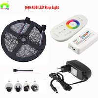 Wholesale Ip Controllers - 5M SMD 5050 RGB 60Leds m Diode Taris Fita IP Light+2.4G Wireless Touch screen RGB led controller + AC110 220V 12V 3A Adapter