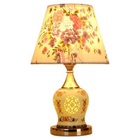 Wholesale white beds hotel rooms for sale - Chinese Fabric Ceramic bedroom Table Lights ceramic body beside Study Room Desk Lamp Hotel Restaurant Traditional Reading desk Lights