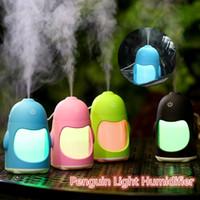 Wholesale Penguin Night Light - 150ML Fashion Color Penguin Ultrasonic Humidifier Portable USB Night Light Aroma Diffusers Car Mini Humidifiers
