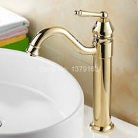 ingrosso ottone moderno rubinetto-Miscelatore monocomando da cucina in ottone placcato oro antico rubinetto lavello miscelatore agf055