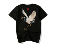 china tees hombres al por mayor-Verano Vintage chino Tees Hombres Crane bordado ropa de moda camisetas de manga corta Tees