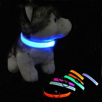 Wholesale designer dog collars leads - Nylon Pet LED Dog Collar Night Safety LED Flashing Glow Pet Supplies Dog Cat Collar Small Designer Products for Dogs Collars