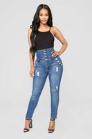 bouton taille haute jean achat en gros de-Femmes taille haute Big Hip Jeans Sexy maigre bleu Denim Pantalon boutons Vintage Washed Fashion Jeans