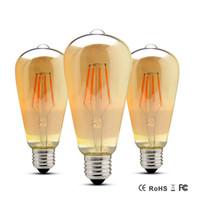 ingrosso lampadina dell'annata del filamento della lampadina principale-Antique Lampada ad incandescenza Edison Bombillas LED filamento della lampadina ST64 220V 110V E27 4W 6W 8W vintage retrò lampadine per la decorazione di nozze