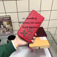 porte-monnaie métallique achat en gros de-ZIPPY WALLET Nouvelle arrivée célèbre designer classique de haute qualité luxe sac à main avec fleur broches métalliques femmes jour embrayage sac