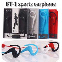 Wholesale White Tour Headphones - BT-1 Tour Earphone Bluetooth Sport Earhook Earbuds Stereo Over-Ear Wireless sports Neckband Headset Headphone with Mic with package