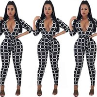 Discount deep v neck jumpsuits - Women Sexy Plaid Jumpsuit with Waistband Deep V-neck Contract Color 3-quarter Sleeve Jumpsuits Rompers Catsuits Bodysuits Clothes