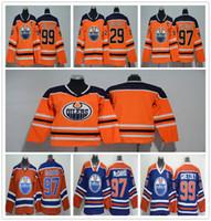jerseys para niños baratos al por mayor-Edmonton Oilers Jerseys juveniles 29 Leon Draisaitl 97 Connor McDavid 99 Wayne Gretzky Cheap Clásicos Oliers Stitch Kids Jerseys Wholsale