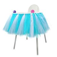 neue baby röcke designs großhandel-Rosa blau baby shower boy party set tutu tull rock für hochstuhl baby shower dekorationen für ein mädchen 1. geburtstag dekoration neues design