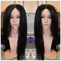 Wholesale Lace Wigs Yaki Straight - High Yaki straight synthetic wigs natural black Glueless lace front heat resistant yaki kinky straight wigs for black women In Stock