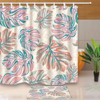 ko großhandel-Benutzerdefinierte Tropische Palmblätter Dekorative Wasserdichtes Gewebe Duschvorhänge Set Duschvorhang Badematte