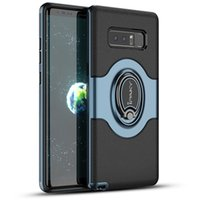 Wholesale magnetic vehicles - iPaky Case For Samsung Note 8 Ring Stand Holder Note8 Back Cover PC+TPU Drop-proof Cases With Vehicle Magnetic function Package In Stock
