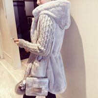 anorakhaube großhandel-Herbst Winter warme Mantel große Pelzkragen Kapuze Kleidung Anorak Jacke Mode Frauen Parka warme Oberbekleidung Mantel mit Hut S18101505