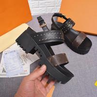 Wholesale ankle wrap boots - HOT Branded Women Laureate Platform Sandal Designer Lady Leather & Canvas Buckle Sandal 5CM Laureate Desert Boot Size35-40