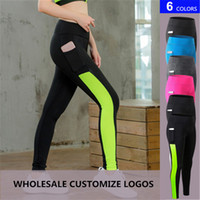 Wholesale mesh trousers - 2018 Sexy Mesh Yoga Pants Women's Sports Tights Trousers with Pocket Girls High Waist Slim Quickly Dry Running Fitness Leggings Plus Size XL