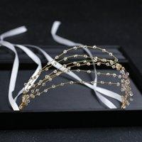 saç bandı mücevher ücretsiz gönderim toptan satış-Yeni Gelin Kafa Bandı Saç Takı Rhinestone Düğün Hairband Kadınlar Için Parti Romantik Kristal Rhinestone Hairband Ücretsiz Kargo