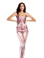 ingrosso abito bianco catsuit vestito-Nero / Bianco Donna Halloween Scheletro Osso Modello Tuta Fancy Dress Senza Maniche Catsuit Skinny Tuta Scary Costume