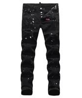 ingrosso ricamare i jeans-Jeans da uomo europei, jeans da uomo, un paio di jeans skinny e teschi neri ricamati # 049