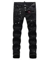 estar al por mayor-Vaqueros europeos para hombres, jeans para hombres, un par de jeans ajustados y calaveras bordadas negras # 049