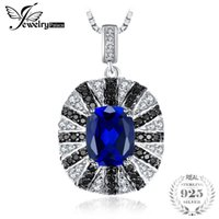 silberne halskette blauer saphir großhandel-JewelryPalace Luxury 6ct Blue Erstellt Sapphire Black Spinell Solide 925 Sterling Silber Anhänger Halskette 45cm Kette Halskette