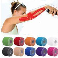 клеевые валики оптовых-Kinesio Tape Muscle Bandage Спортивная кинезиологическая лента Roll Roll Эластичный клей Штамм для травм Мышечная наклейка Kinesiology Tape KKA4434