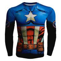 kaptanı amerika külotu toptan satış-Erkek moda yaratıcılık t-shirt yeni Kaptan Amerika tayt tee superhero spor uzun kollu bisiklet hızlı kuru basketbol yelek