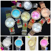 Wholesale metal watches for women - Women Geneva Diamond Watches Metal Steel Alloy Gold Siver Quartz Watch Fashion Wristwatch for ladies Girls Gift OOA4379