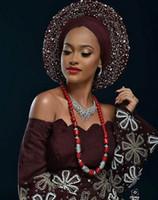 bufanda africana gele al por mayor-Aso Oke Headtie African gele Headtie aso oke con piedras Wrapper Scarf 2 metros de largo, 6 colores disponibles para mujer de moda 30