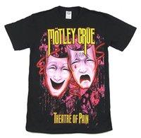 черная фиолетовая маска оптовых-Пестрый Crue фиолетовые маски театр боли черная футболка новый официальный группа Merch 2018 Мода T Shirt100% хлопок tee