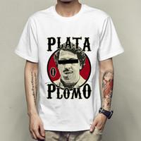 Wholesale Rich Prints - Plata o plomo t shirt Escobar short sleeve gown Cool rich man tees Unisex clothing Quality modal Tshirt