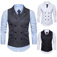 traje a medida hombres tweed al por mayor-Hombres formal Tweed Check doble Breasted chaleco retro Slim Fit traje chaqueta caballero estilo por encargo para hombre