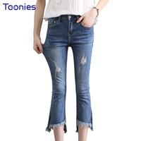 Wholesale korean fashion pants for women - 2018 Summer New Korean Style Fashion Hole ripped jeans for women High Waist Jeans Woman Skinny Slim Denim Flared Pants Women