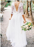Wholesale Low Back Long Sleeve Dresses - 2018 New Bohemian Wedding Dresses Lace 3 4 Long Sleeves V-neck Low Back A-line Chiffon Plus Size Summer Beach Country Bridal Wedding Gown