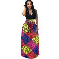 ingrosso abito maxi pieghettato boho-Vestiti africani delle donne di Boho di Dashiki Cocktail Gonna pieghettata vita alta Gonna caratteristica Maxi vestito nazionale