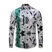 design de cores casual camisas venda por atacado-Brand New design Retro Color Mixture camisa de vestido de impressão do homem magro camisa dos homens de Luxo Casual Harajuku manga Comprida Camisas Dos Homens de Medusa
