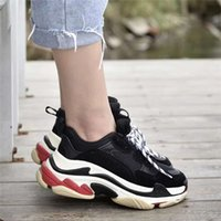 Wholesale women s cotton slips - Luxury Brand Triple S Trainers Men Women High Quality Black White Red Pink Fashion Dad Shoes