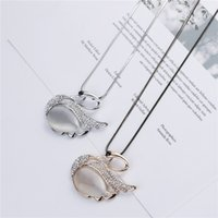 Wholesale trendy sweaters for women - Elegant Long Swan Sweater Crystal Necklace Jewelry for Lady
