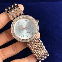 yeni saat tasarımları toptan satış-2018 Yeni stil Küçük Yıldız tasarım desen Saat kadranı Zarif Yüksek Kalite Lüks Saatler Kadın Kuvars Saatler Toptan Ücretsiz Kargo