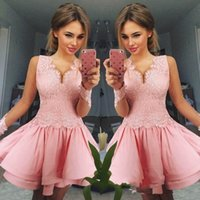 Wholesale cute cocktail dresses for sale - Cute Pink V neck Mini Short Homecoming Dresses Long Sleeve Appliques Beaded Backless Sweet Graduation Dresses Cocktail Party Dresses